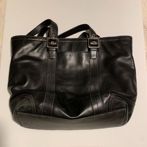 Coach Black Leather Business Tote Bag
